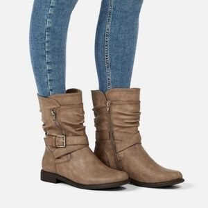 Lani Slouch Flat Boot Taupe Color NIB Faux Leather